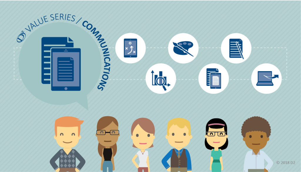 Illustration of a 6-part value series on communications with icons representing various aspects